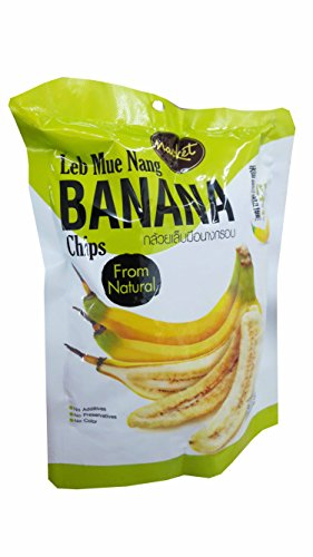 3 packs of Leb Mue Nang Crispy Banana chips from natural, Delicious Fruit Snack by Nacket, Thailand.(43 g/pack) by Nacket