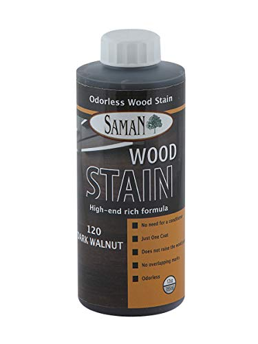 SamaN Interior Water Based Stain for Fine Wood, Dark Walnut, 12 oz