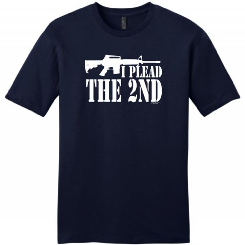 I Plead the 2nd Young Mens T-Shirt Large Navy