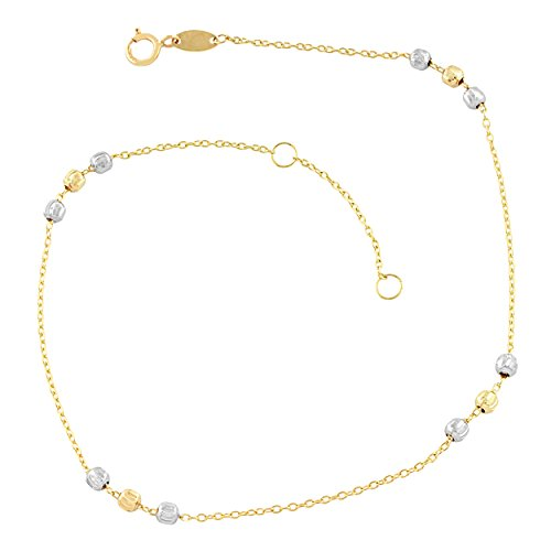 10k Two-Tone Gold Bead Station Anklet (fits 9'' or 10'') by Kooljewelry