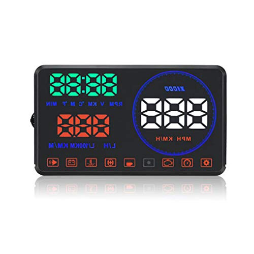 ZHAO YING OBD Car Driving Computer Speed Water Temperature Gauge Fuel Consumption Meter Head-up Projection Head Up Display (Color : Black)