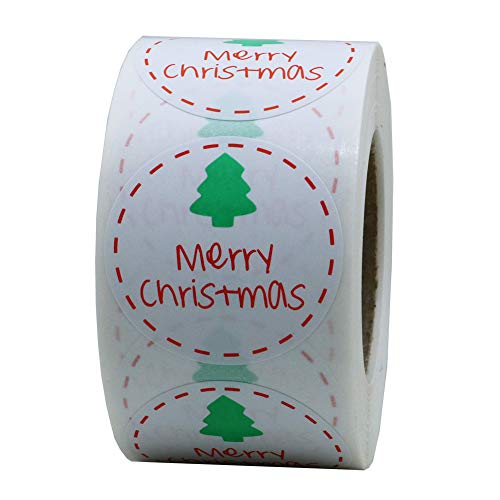 Hybsk Merry Christmas Stickers Christmas Tree 1.5 Inch Round Envelope Bag Seals Decorations Ornaments Party Supplies Total 500 Labels on a Roll