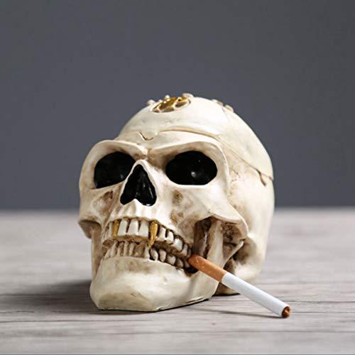 YURASIKU Skull Ashtray, Halloween Home Desk Decoration Horror Resin Skeleton Smoking Ashtray Portable Gift