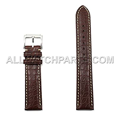 20mm Brown Genuine Alligator Leather Watch Band with Beige Stitches by Generic