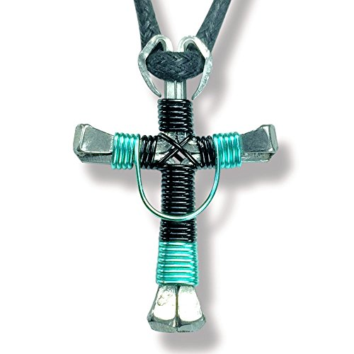 Swag Design Horseshoe Nail Cross Necklace (Swag Black & Seafoam Green)