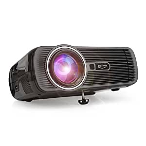 Multimedia Projector - LED Home Projector Support HDMI 1080P for Home Cinema Theater TV Laptop Game SD iPad iPhone Android Smartphone black