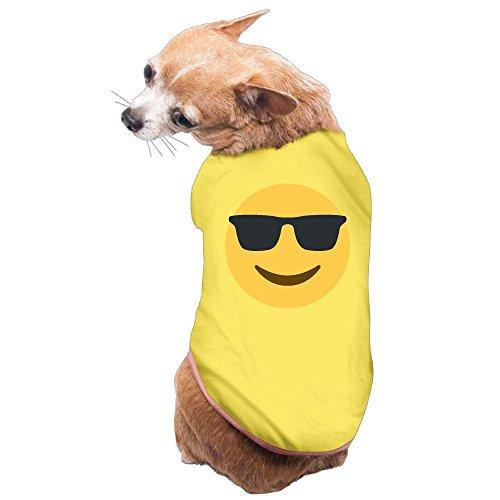 Dog Cat Pet Shirt Clothes Puppy Vest Soft Thin Sunglasses Smile Emoji Emoticon 3 Sizes - Puts Sunglasses Emoticon On