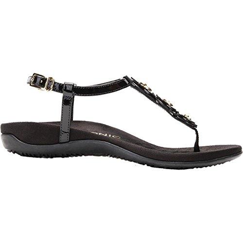 Vionic Womens Paulie T-Strap Sandal, Black Patent, Size 7.5