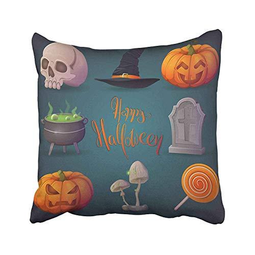 (Nextchange Happy Halloween Terrible Pumpkin Funny Witch's Cauldron Hat Gravestone Lollipop Human Skull Cotton Pillowcase (Two Sides) Pillow Cover Standar Size)