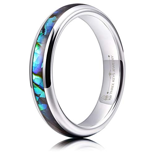 THREE KEYS JEWELRY Women 4mm Wedding Bands Tungsten Abalone Shell Inlay Viking Carbide Ring with Jewels Polished Infinity Unique for Her Silver Size 7