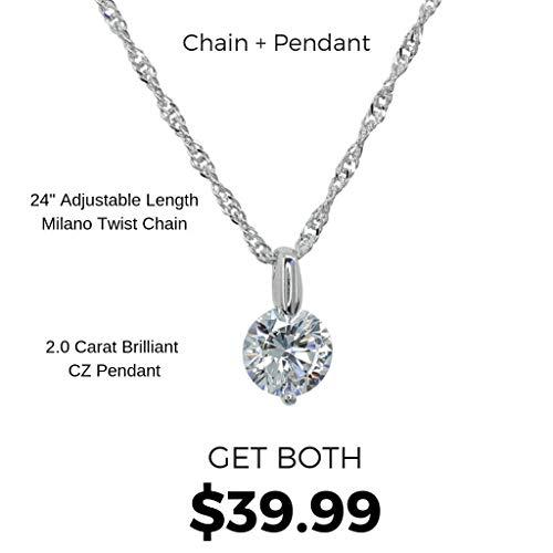 (Roma Designer Jewelry Adjustable Milano Twist Chain + Brilliant CZ Pendant Set)