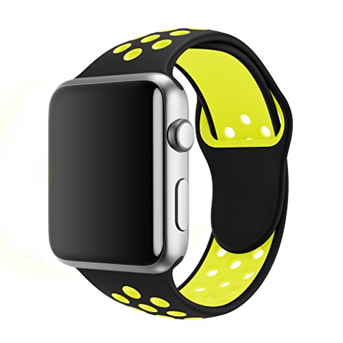 SMEECO Compatible with Apple Watch Band 38mm 40mm,Soft Breathable Silicone Strap Replacement iWatch Bands for Apple Watch Series 3, Series 2, Series 1 Sport Nike (38mm/40mm S/M)