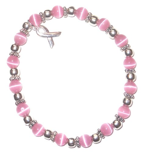 Hidden Hollow Beads Cancer Awareness 6mm Beaded Stretch Bracelet, Adult size, Comes Packaged (Breast Cancer - Pink)