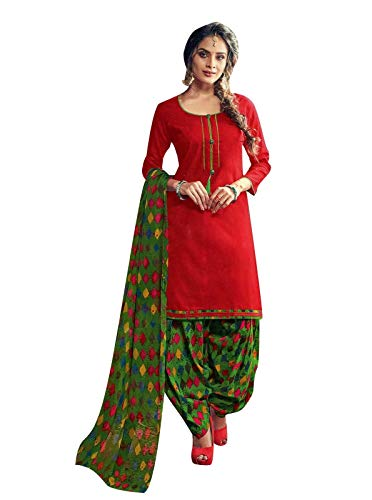 ladyline Jaquard Cotton Plain with Printed Patiala Salwar Kameez Ready to Wear Indian Dress (Size_44/ Red)