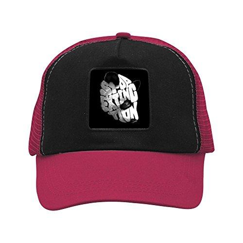 Nichildshoes hat Adult Mesh Cap Hat Adjustable for Men Women Unisex,Print Stop Extinction Wine (Adjustable Stop Male Mount)