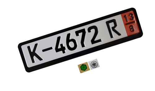 COMPLETE ZOLL Germany German TOURIST EEC European Front Reflective Reflector LICENSE PLATE TAG and FRAME (Set / Kit) for Volkswagen VW 181 Thing Amorok Beetle Caddy Corrado Dasher Eos Fox Gol Saeiro Parati Fox CrossFox Sacefox Gold Rabbit Caribe Golf Plus Jetta Bora Vento Karmann Ghia Lupo New Beetle Passat Quantum Phaeton Polo Scirocco Sharan SP2 Tiguan Toureg Touran Transporter Caravelle Microbus Vanagon Eurovan Type 3 4 Routan Vento