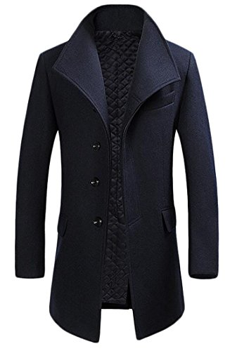 Papijam Mens Winter Thicken Outwear Wool-Blend Business Trench Coat Navy Blue L by Papijam