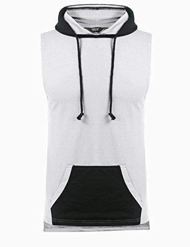 COOFANDY Men's Workout Cotton Hoodie Vests Bodybuilding Gym Sleeveless Pullover Sweatshirt, White, XX-Large