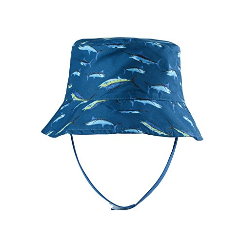 Boys Reversible Bucket Hats UPF 50+ Sun Protection Sun Hats Baby Fishman Hat with Cartoon Fish Plaid 1-2 Years ()