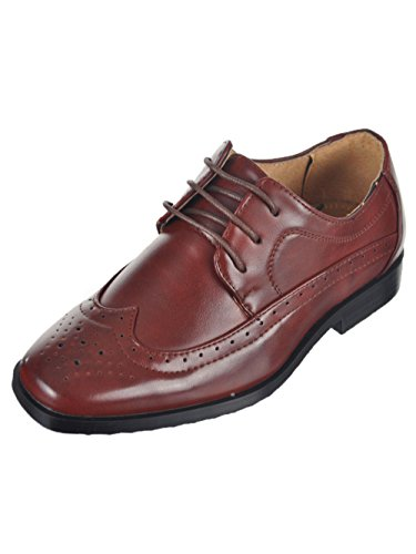 Wing Tip Wine - Easy Strider Boys' Worsted Wingtip Dress Shoes - Wine, 11 Toddler