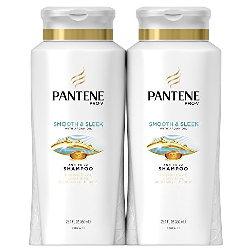 Pantene Pro-V Smooth and Sleek Shampoo, 25.4 Fluid Ounces (Pack of 2) - With Argan Oil