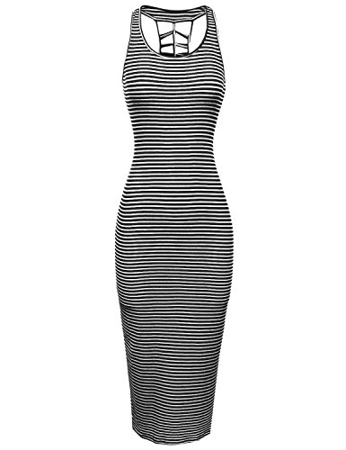 Awesome21 Casual Stretch Striped Caged Racerback Bodycon Midi Dress White Black Size L (Black And White Striped Midi Bodycon Dress)