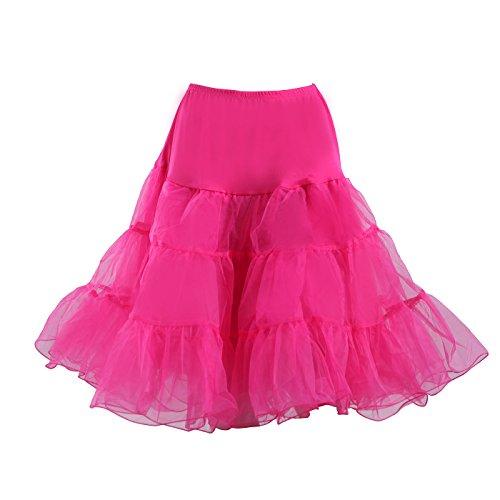 HDE Women's Plus Size Petticoat Vintage Swing Dress Underskirt Tutu Skirt (XX-Large, Hot Pink) - Vintage Crinoline