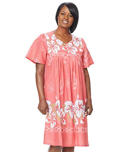 - AmeriMark Womens Patio Dress Lounger Floral Print Border Short Sleeve and Pockets Plus Size