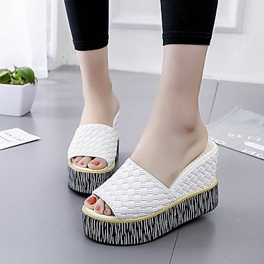 RUGAI-UE Moda de Verano Mujer sandalias casuales zapatos de tacones PU Confort,Blanca,US5 / UE35 / UK3 / CN34 White