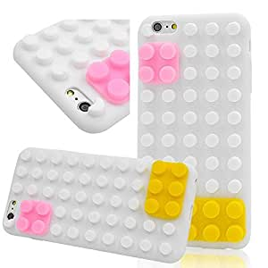 Seedan iPhone 6 Plus (5.5 inch) Case - White Style Bricks Design Soft Jelly Candy Color Rubber Cover Skin Protector