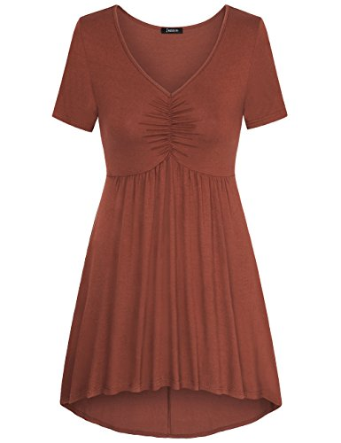 Flare Tunic,Jazzco Short Sleeve V Neck A Line Pleated Front Loose Fit Tops for Women (Brown,XX-Large)