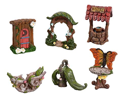 (Mini Fairy Garden Village 6 Piece Collection - Miniature Decorative Collectible Furniture Accessories - Welcome Archway, Leaf Slide, Outhouse, Wishing Well, Seesaw, Butterfly Pedestal (Gnome Fairies))
