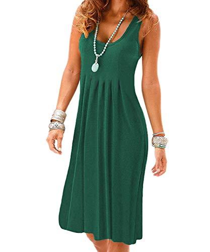 VERABENDI Summer Casual Loose Sleeveless Plated Beach Cover Ups T-Shirt Green Dresses for Women ()