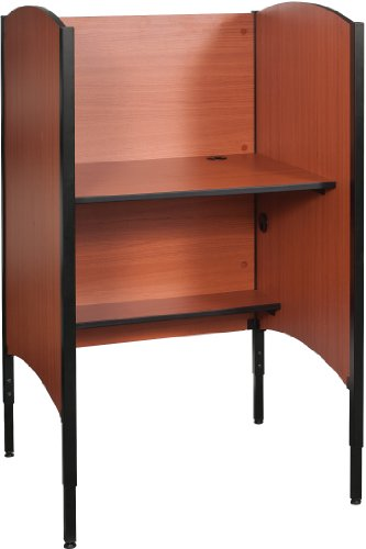 Balt 90294 Up-Rite Height Adjustable Sit to Stand Carrel Workstation, Cherry, Starter Unit, 46.3