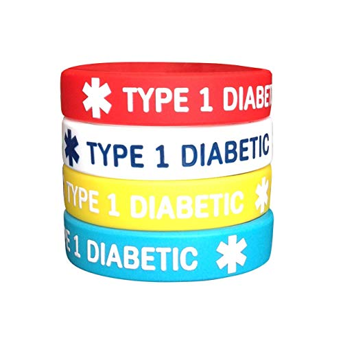 Diabetes Type 1 Silicone Bracelets for Kids 4 Pack (Bracelet Kids Diabetes 1 Type)