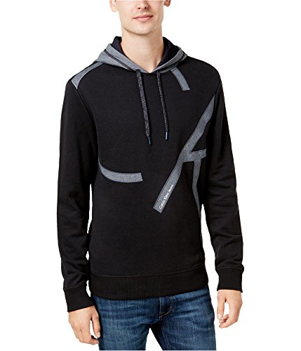 Calvin Klein Mens Chambray Pieced Hoodie Sweatshirt Black M by Calvin Klein
