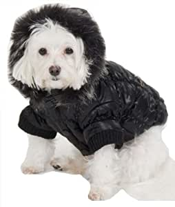 Fashion Pet Quilted Dog Parka, Black, X-Large