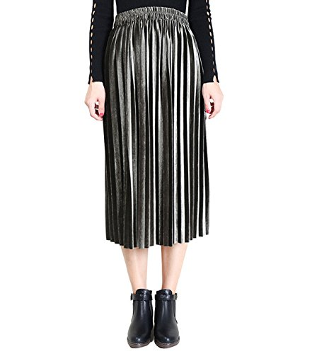 Clarisbelle Women Pleated Velvet Skirt Midi Skirt Premium Metallic Shiny Shimmer Accordion Elastic High Waist Skirt (S, Army green) ()