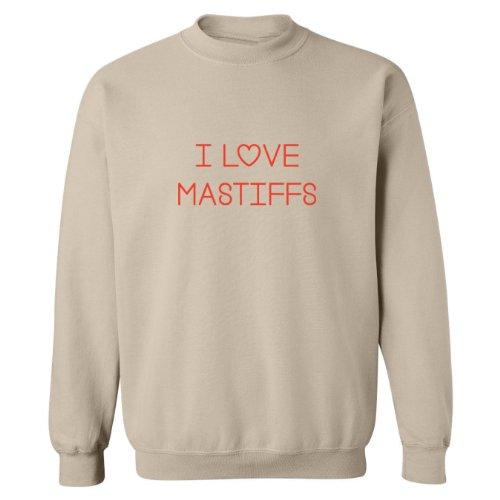 Mashed Clothing I Love Mastiffs Adult Sweatshirt (Beige, (Mastiff Adult Sweatshirt)