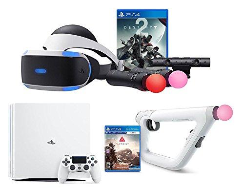 PlayStation VR Starter Bundle 3 Items: VR Starter Bundle, PSVR Aim Controller Farpoint Bundle, Playstation 4 Pro Console Destiny 2 Bundle