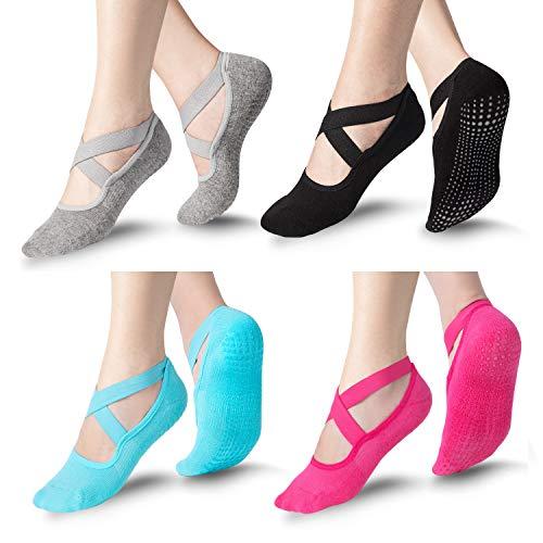 Bememo Yoga 4 Pairs Socks for Women Non Slip Sock with Grips Barre Socks Pilates Socks (Black, Gray, Rose, Blue)