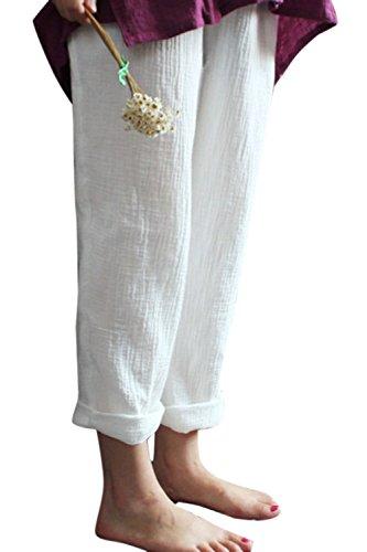 Simgahuva Coton Et Lin Longue Taille lastique des Femmes Perdent des Pantalons De Harem White