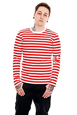Mens Indie Retro 60's Red & White Striped Long Sleeve T Shirt ...