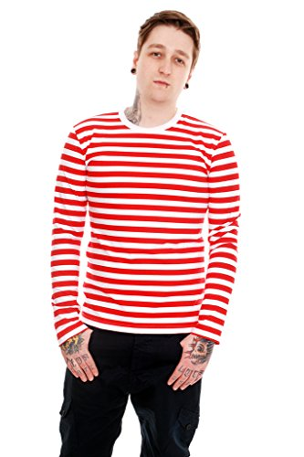 Run & Fly Mens Indie Retro 60's Red & White Striped Long Sleeve T Shirt - Retro Indie