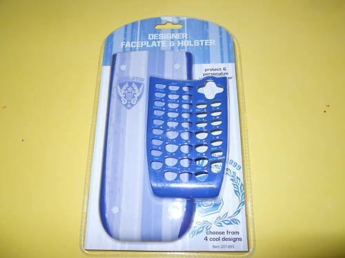Designer Collegiate 2 Ti-84 Ti84 Plus Silver Edition SE Faceplate and Holster / Blue Case