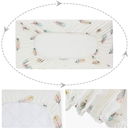 225 & LifeTree Premium Cotton Diaper Changing Pad Cover - Feather Print Cotton Cradle Sheet for Baby Boys or GirlsFits Standard Contoured Changing Table ...