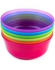 Cuddly Hippo Kids Plastic Dinnerware Set of 6 Multi Color Bowls - Reusable, BPA-Free, Dishwasher Safe and Microwaveable