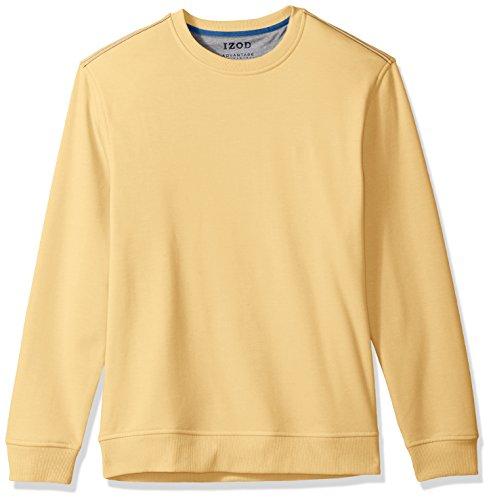 IZOD Men's Advantage Performance Solid Crew Fleece, Dark Amber Gold, - Advantage Soft Jacket