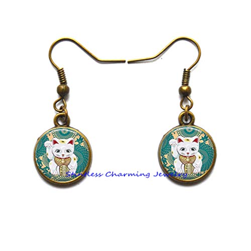 Teal Maneki Neko Earrings, Maneki Neko Stud Earrings, Japanese Lucky Cat Earrings Charm,Lucky cat Stud Earrings. Lucky cat Symbols Sign Earrings. Lucky cat Symbols Jewelry, Birthday gift-JP316 (C3)