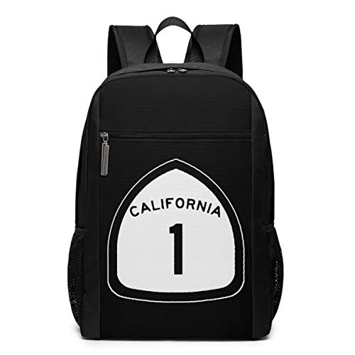 California State Highway Route 1 Sign Laptop Backpack Travel Computer Business Backpack College School Bookbag for Men Women Teens Black 17 Inch